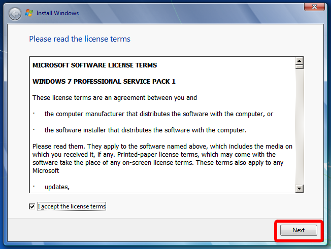 microsoft windows 7 license agreement